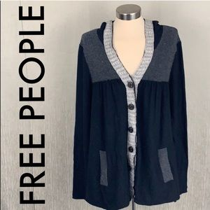 👑 FREE PEOPLE HOODED KNIT JACKET 💯AUTHENTIC